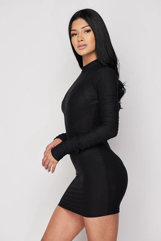 Image of Long Sleeve Black Dress
