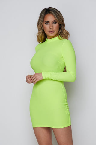 Image of Jolie Long Sleeve Dress - Neon Green