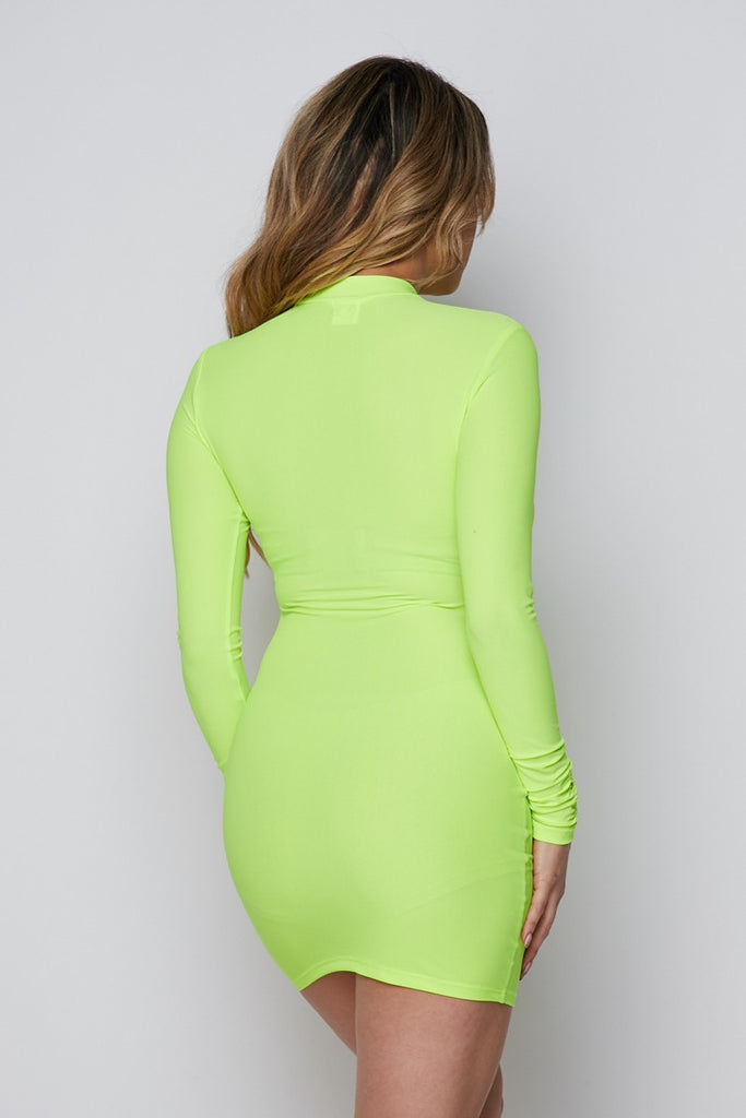 Jolie Long Sleeve Dress - Neon Green