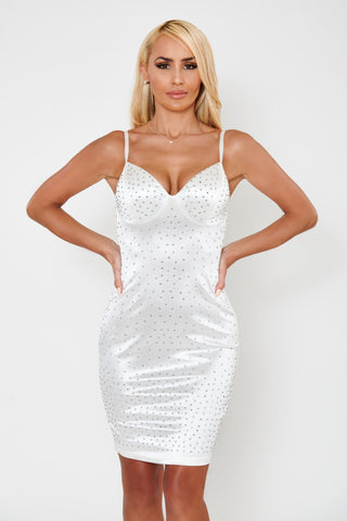 Image of Vienna Rhinestone Satin Dress - White