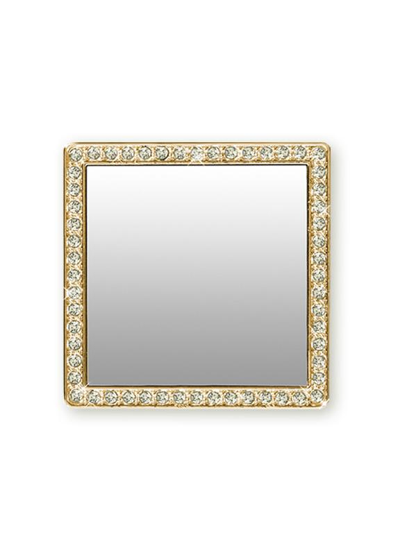 Gold Square w/ Crystals Phone Mirror