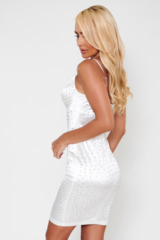 Vienna Rhinestone Satin Dress - White