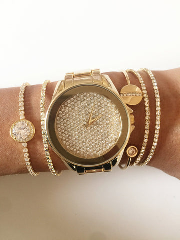 Image of Rhinestone Gold Watch