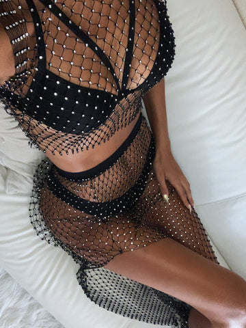 Image of Black Rhinestone Mesh Cover Up Set