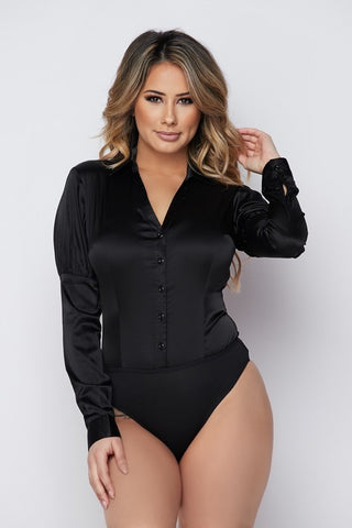 Black Solid Bodysuit