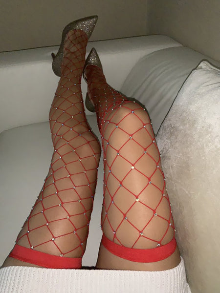 Red Rhinestone Thigh Highs