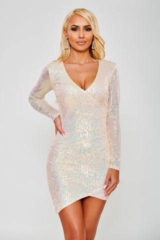Image of Ava Sequin Dress - Ivory