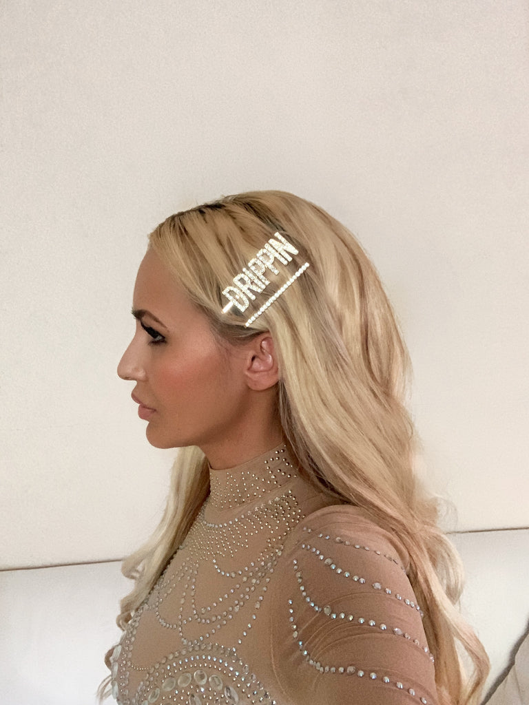 3-Piece Drippin Rhinestone Clip Set