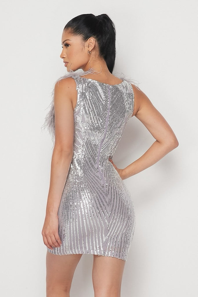 Grey Sequin Feather Mini Dress