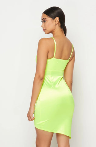 Emerie Satin Cocktail Dress - Neon Green