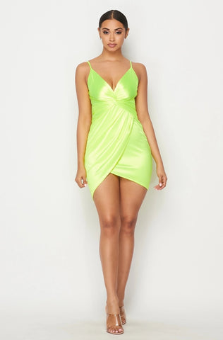 Neon Green Satin Cocktail Dress