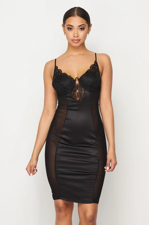 Madisyn Satin Lace Dress - Black