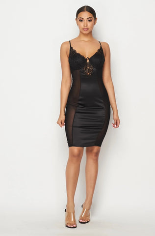 Image of Black Satin Lace Dress