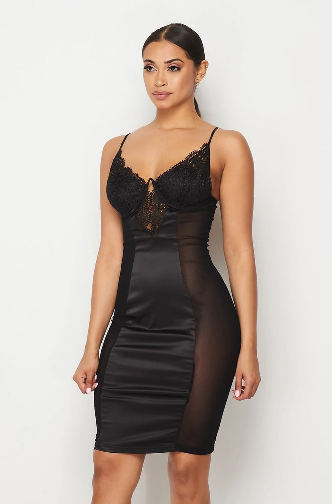 Black Satin Lace Dress