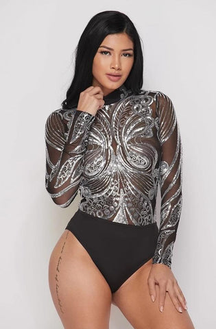 Image of Silver Sequin Bodysuit