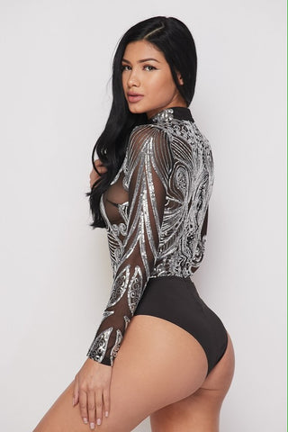 Silver Sequin Bodysuit