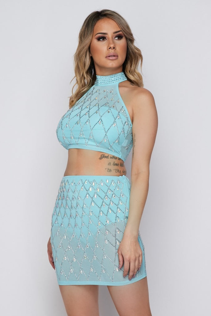 2-Piece Blue Rhinestone Skirt Set