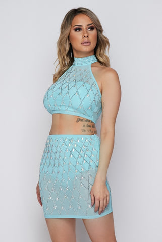 2-Piece Rhinestone Skirt Set
