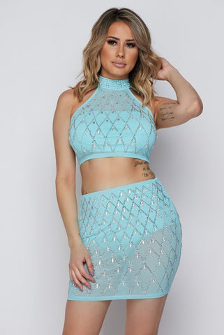 Image of 2-Piece Blue Rhinestone Skirt Set