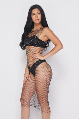 Rhinestone Mesh Cover Up