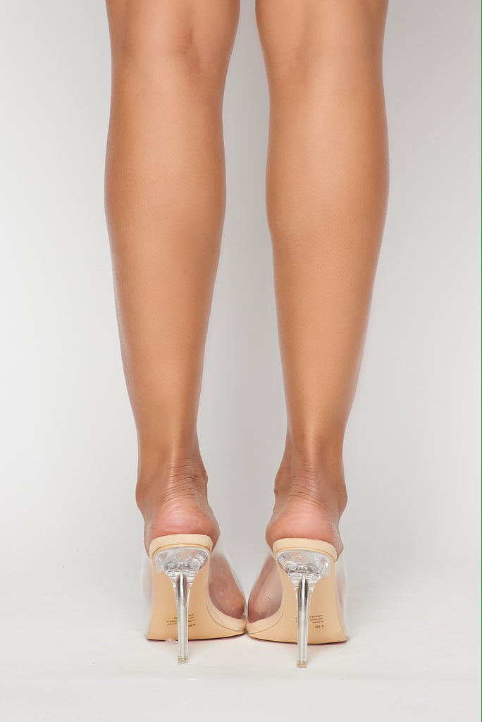 Clear Stiletto Mules