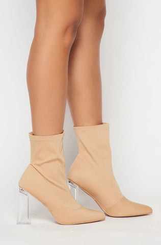 Image of Block Heel Sock Booties
