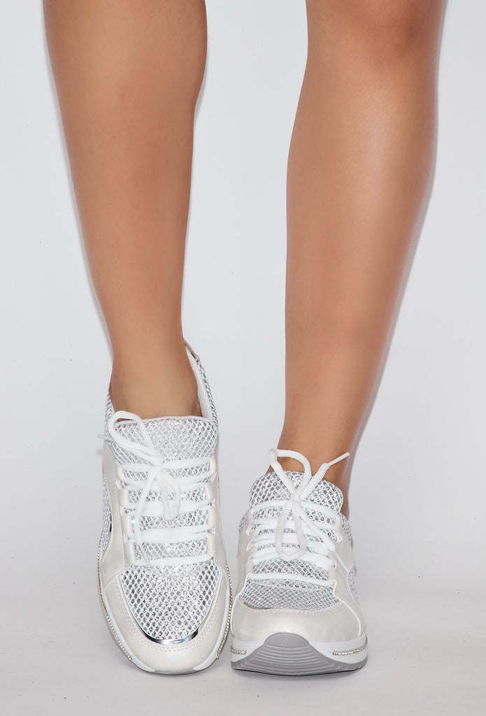 Rhinestone Sneakers - White
