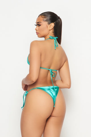 Image of Julietta Green Satin Bikini