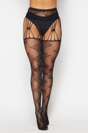Black Rhinestone Zigzag Tights