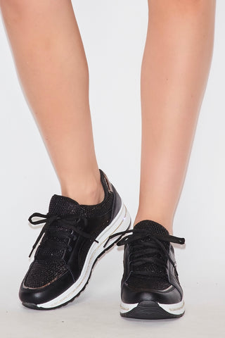 Image of Rhinestone Sneakers - Black