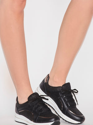 Rhinestone Sneakers - Black