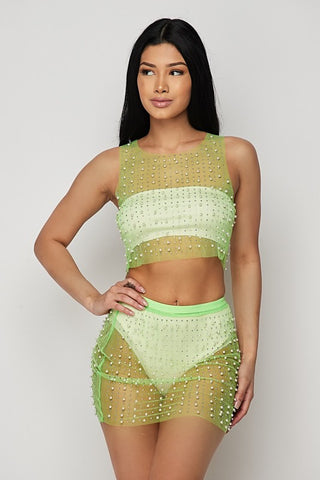 Neon Green Pearl 2-Piece Cover Up
