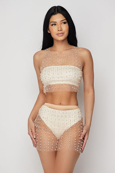 Nude Pearl 2-Piece Cover Up
