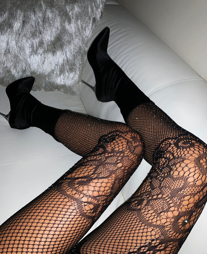Black Rhinestone Lace Tights