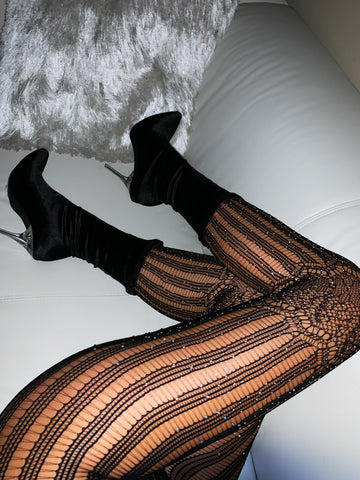 Image of Black Rhinestone Lined Tights