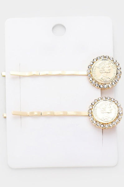 2-Piece Coin Hair Pin Set