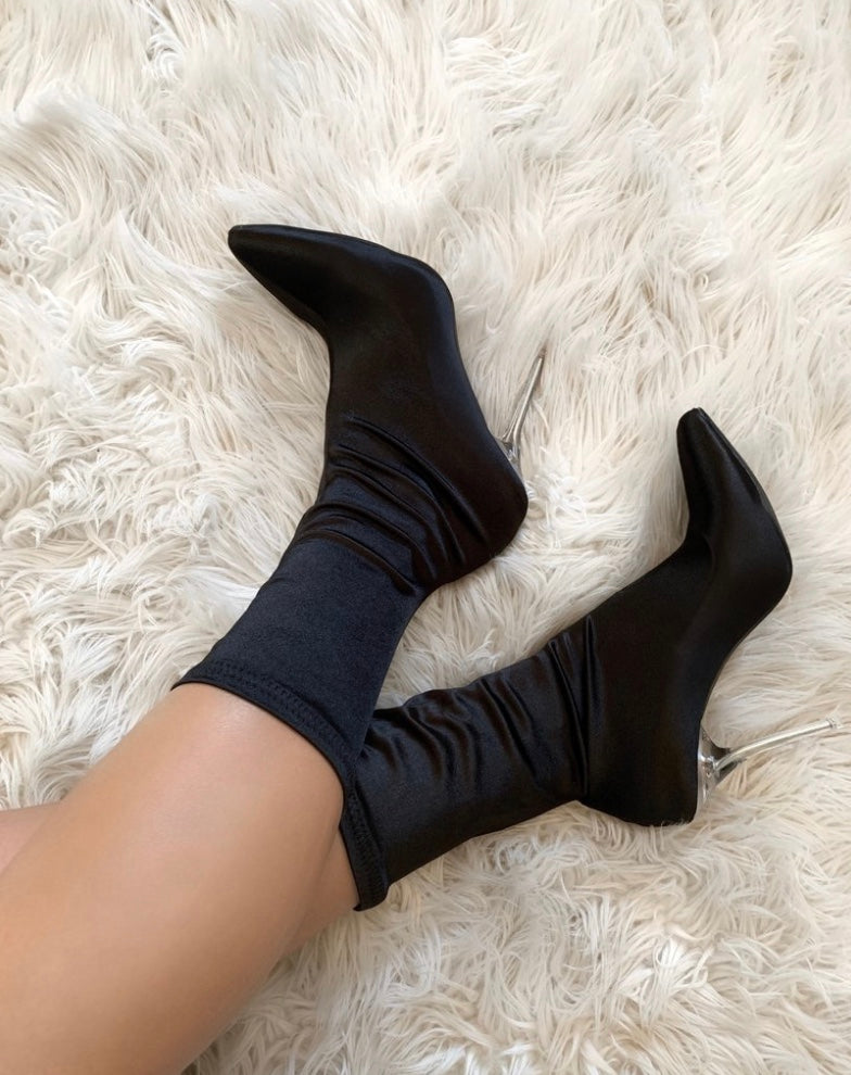 Black Satin Booties