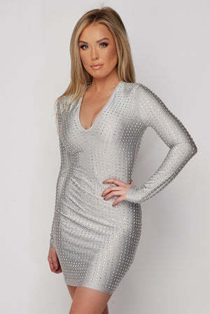Rhinestone Cocktail Dress - Gray