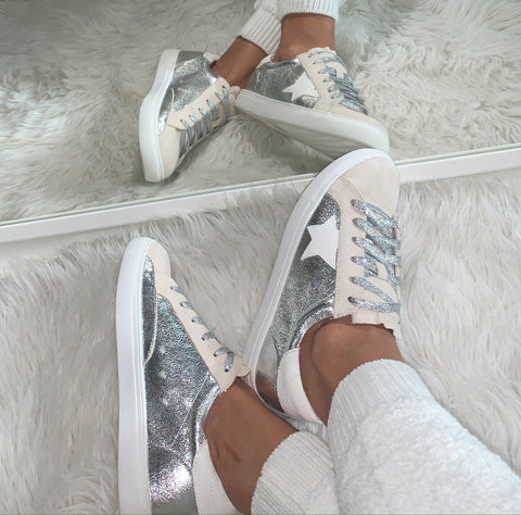 Image of Metallic Suede Sneakers