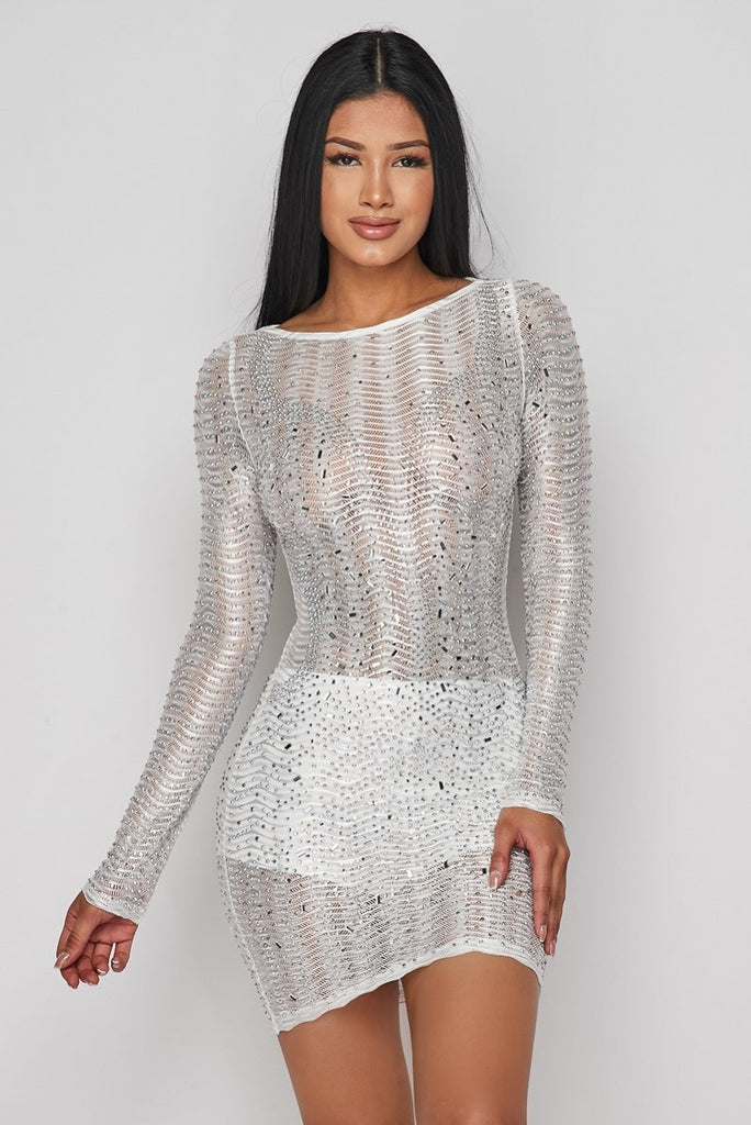 Goddess Rhinestone Mini Dress - White