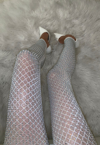 Image of White Mesh Rhinestone Pants