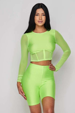Image of Neon Green 2-Piece Short Set
