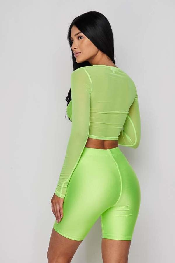 Neon Green 2-Piece Short Set