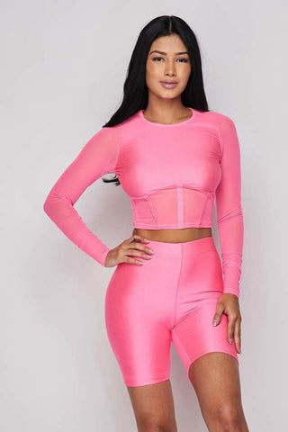 Neon Pink 2-Piece Short Set