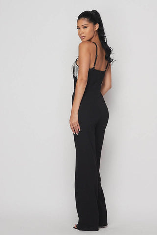 Image of Rhinestone Fringe Jumpsuit - Black