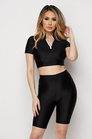 Image of Black Short Sleeve 2-Piece Short Set