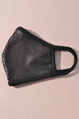 Snakeskin Face Mask - Black
