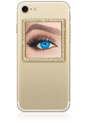 Image of Gold Square w/ Crystals Phone Mirror