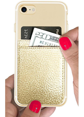 Image of Gold Leather Phone Pocket