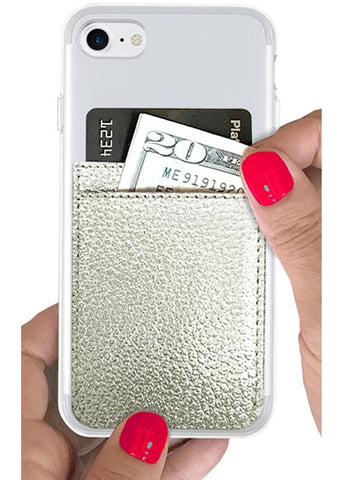 Silver Leather Phone Pocket